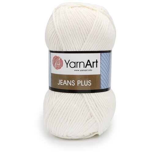 Пряжа YarnArt 'Jeans Plus' 100гр 160м (55% хлопок, 45% полиакрил) (01 белый), 5 мотков пряжа yarnart пряжа yarnart jeans plus цвет 53 черный