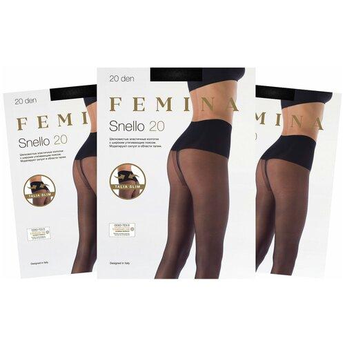 Женские колготки Femina, с утягивающим поясом, Snello 20 den набор 3 шт., черный, размер 2