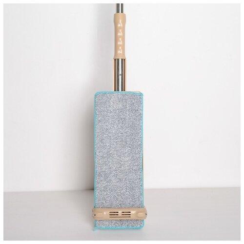 Швабра плоская Доляна с вертикальным отжимом, стальная ручка 125 см, 2 насадки 35*14 см (1723638)