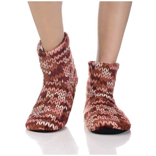 Плюшевые носки домашние с вязаным узором, противоскользящая подошва, внутренний подклад из искусственного меха, коричневый цвет, размер 35-37