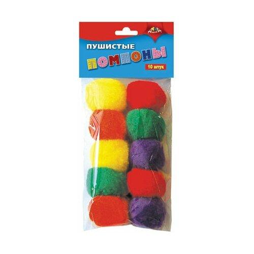 Купить Материалы для творчества апплика Пушистые помпоны , 5 цветов, диаметр 40 мм, 10 шт., С2578-01, Апплика, Поделки и аппликации