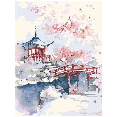 Купить Картина по номерам Фудзияма японская живопись, 80 х 100 см, Красиво Красим, Картины по номерам и контурам