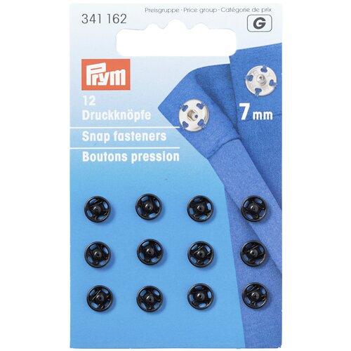 Фото - Prym Кнопки пришивные (341162, 341242), черный, 7 мм, 12 шт. prym кнопки пришивные квадратные 347125 белый 9 мм 15 шт