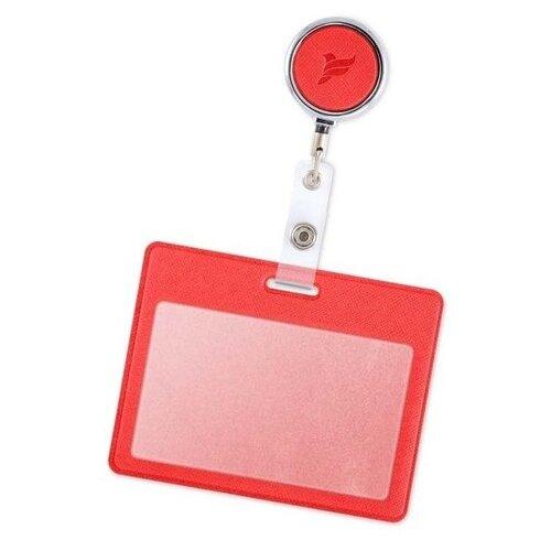 Держатель / бейдж / для пропуска бейджа чехол для карт доступа с рулеткой / Карман обложка для проездного Flexpocket красный