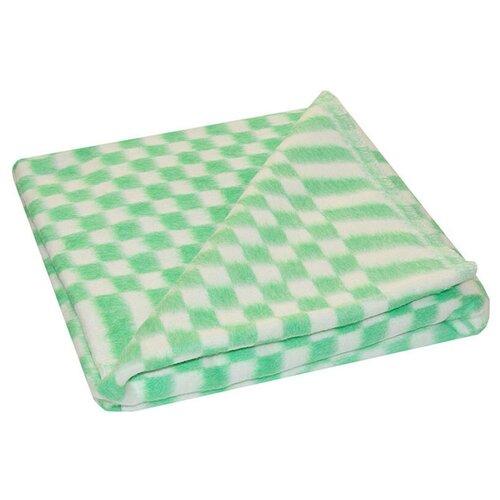 Зеленое Мелкая клетка Байковое 100х140 арт. 57-3ЕТ 90% х/б Ермолино одеяло