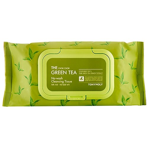 Tony Moly Салфетки для снятия макияжа с экстрактом зеленого чая The Chok Chok Green Tea No-Wash Cleansing Tissue 100 шт tony moly the chok chok green