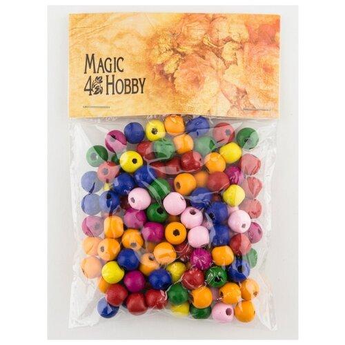 Бусины деревянные 40 г., MG-B 123, Magic 4 Hobby, розовый, синий, желтый бусины деревянные детские 40 г mg b magic 4 hobby желтый зеленый