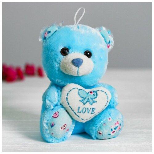 Мягкая игрушка Медведь с сердцем цвет голубой
