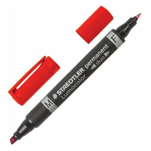 Купить Маркер перманентный STAEDTLER двусторонний, красный, круглый 0, 6 мм / скошенный 1, 5-4 мм, 348 B-2, 3 шт., Маркеры