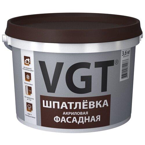 Шпатлевка VGT акриловая фасадная, белый, 3.6 кг
