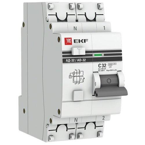 Фото - Дифференциальный автомат EKF АД-32 2П 100 мА C 4.5 кА AC электронный 32 А дифференциальный автомат ekf ад 4 4п 30 ма c 4 5 ка ac электронный 40 а
