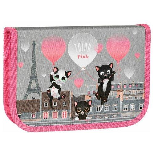 Фото - Пенал TIGER FAMILY 1 отделение, 1 откидная планка, ткань, Think Pink In Paris, 20х14х4 см, 270246, 1 шт. think pink