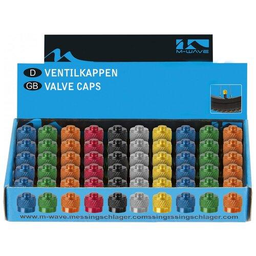 Колпачки для ниппеля 5-519885 авто алюминиевый анодированный цвета в ассортименте (50шт в упаковке) M-WAVE