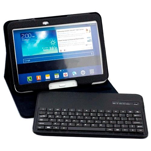 Чехол-клавиатура MyPads для Huawei MediaPad M2 8.0 LTE (M2-801W M2-803L) съемная беспроводная Bluetooth в комплекте c кожаным чехлом и пластиковыми наклейками с русскими буквами