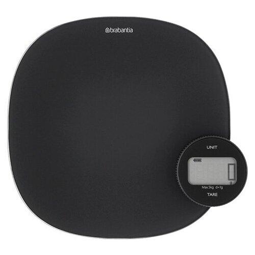 Цифровые кухонные весы Plus 20x4,5 см, материал стекло + пластик, цвет черный, Brabantia, 122880