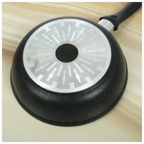 Сковорода Kukmara Marble Induction, d 24 см, темный мрамор кастрюля kukmara marble induction 2 л темный мрамор