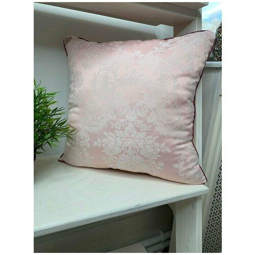 Подушка декоративная 40/40 из сатин-жаккарда,розовая.