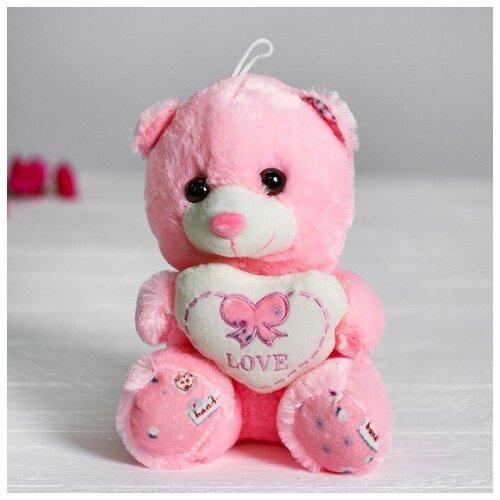 Мягкая игрушка Медведь с сердцем цвет розовый