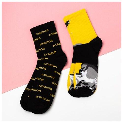 Носки Kaftan Подвязка 5164608, 2 пары, размер 23-25 см (37-39), черный/желтый