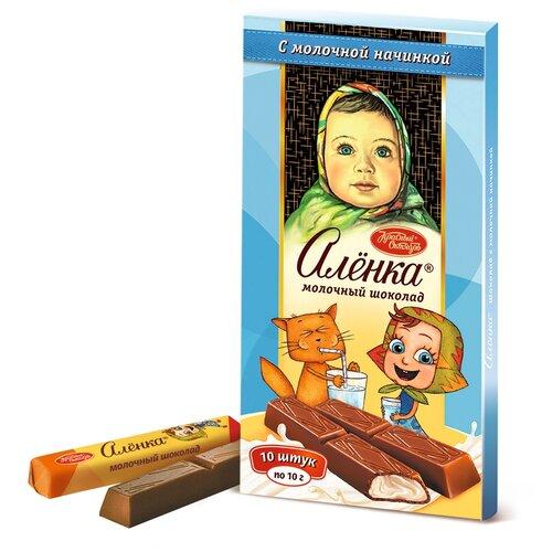 шоколад алёнка молочный порционный с молочной начинкой 100 г Шоколад Алёнка молочный порционный с молочной начинкой, 100 г