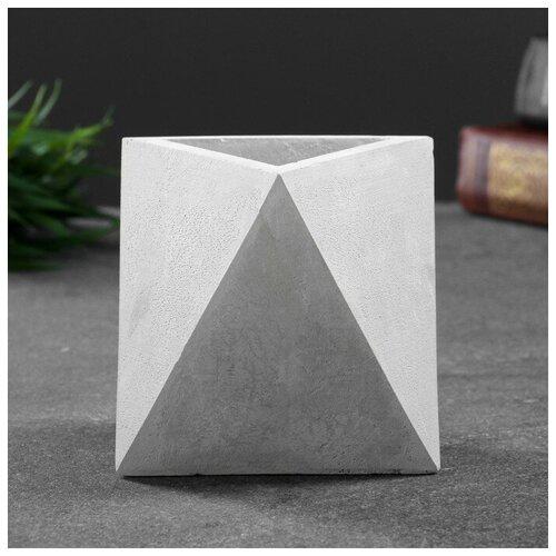 Кашпо бетонное Абстракция белое 9 х 9 х 9 см 4966868 фоторамка хорошие сувениры изабелла 16 х 9 5 см белый