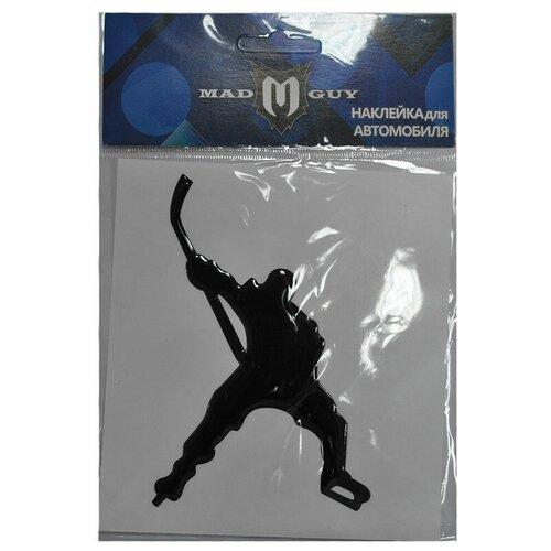 Наклейка Mad Guy хоккеист на замахе (размер Стандартный, цвет Металлик)
