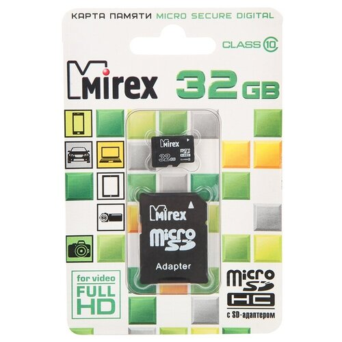 Фото - Карта памяти 32Gb - Mirex - Micro Secure Digital HC Class 10 13613-AD10SD32 с переходником под SD (Оригинальная!) карта памяти 8gb mirex micro secure digital hc class 10