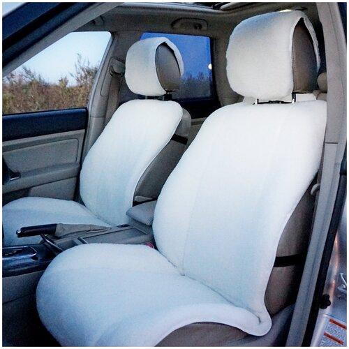 Меховые накидки на автомобильные сиденья AutoWool из овечьей шерсти - 2 шт. Белые