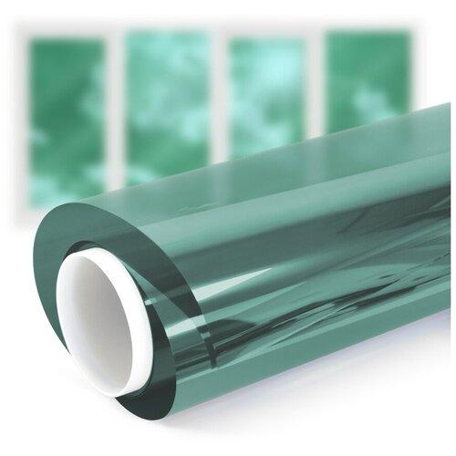 Пленка самоклеящаяся на окно солнцезащитная зеркальная Green 15 - комплект на четырехстворчатое окно