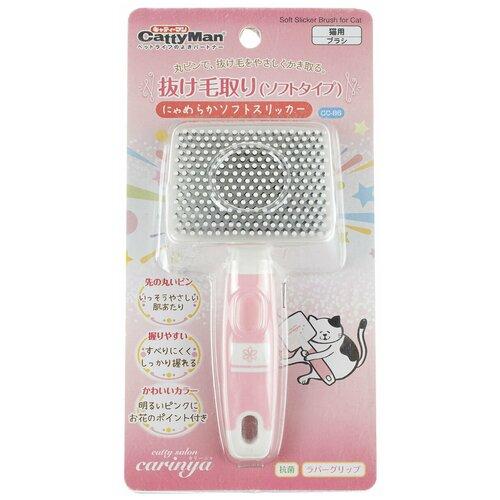 Japan Premium Pet Мягкий сликер-пуходерка для короткой шерсти с особо чувствительной кожей Премиальной серии Catty salon