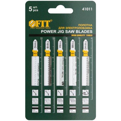 Набор пилок для лобзика FIT T111C; T101BR; T101AO; T118A; T118B 41011 5 шт. набор пилок для лобзика рос