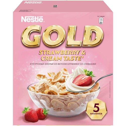 Фото - Готовый завтрак Nestle Gold Strawberry & Cream Taste хлопья, коробка, 250 г хлопья кукурузные nestle gold snow flakes 300 г