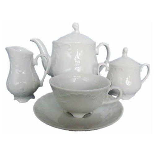 Чайный сервиз на 6 персон 15 предметов Cmielow Рококо /Без декора (220 мл) / 111623 сервиз чайный фарфоровый на 6 персон 220 мл royal classics 14 предметов
