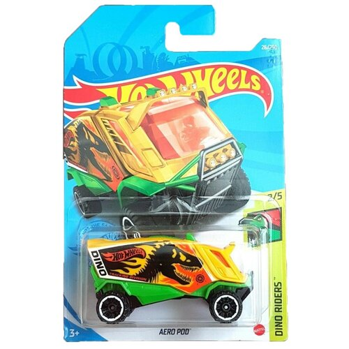 Hot Wheels Базовая машинка Aero Pod, желто-зеленая mattel базовая машинка hot wheels tesla model 3