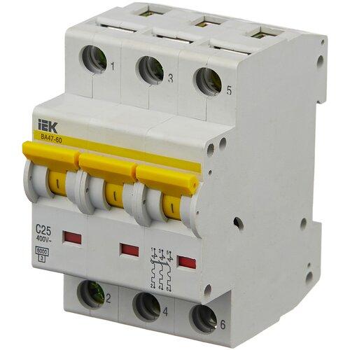 Автоматический выключатель IEK ВА 47-60 3P (C) 6kA 25 А автоматический выключатель iek ва 47 29 3p c 4 5ka 63 а