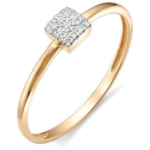 АЛЬКОР Кольцо с бриллиантами из красного золота 12265-100, размер 17