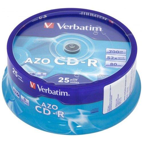 Фото - Диск CD-R Verbatim 700Mb 52x Cake Box (25 штук) (43352) диск cd r verbatim 700 mb 52x cake box 50 dl full ink printable 50 200 43438