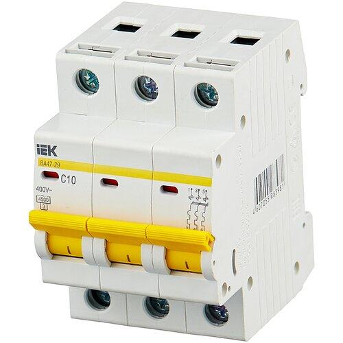 Автоматический выключатель IEK ВА 47-29 3P (C) 4,5kA 10 А автоматический выключатель iek ва 47 29 3p c 4 5ka 63 а