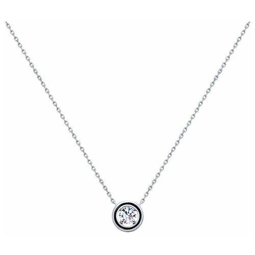 SOKOLOV Колье из серебра с эмалью и фианитом 94070140, 45 см, 4.13 г