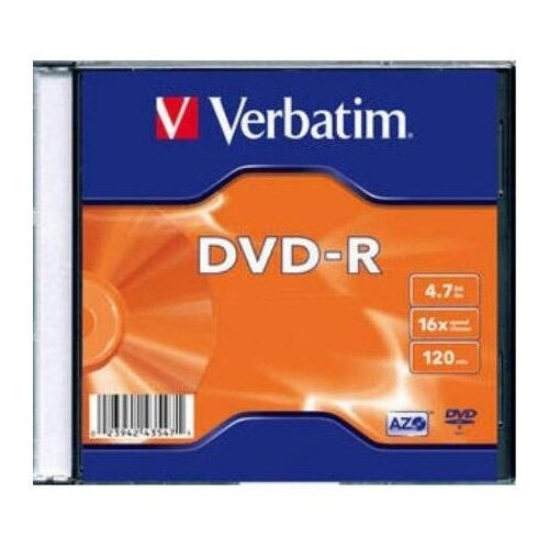 Диск DVD-R Verbatim 4.7Gb 16x Slim case (100 штук) (43547)