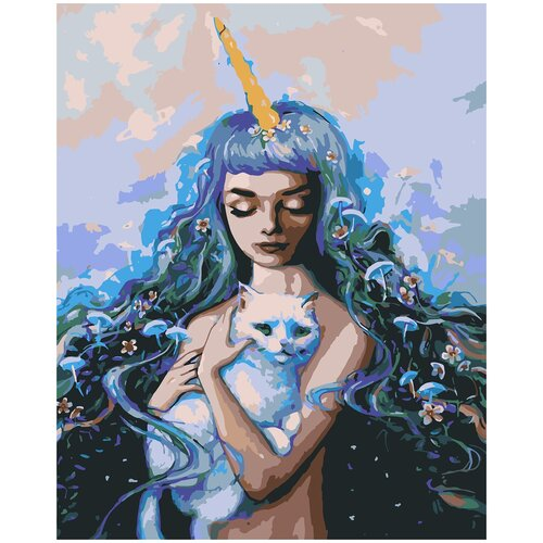 Купить Картина по номерам Кот и девушка, 80 х 100 см, Красиво Красим, Картины по номерам и контурам