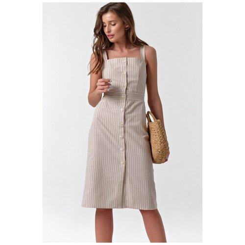 Платье FLY. размер 48, полоска на бежевом