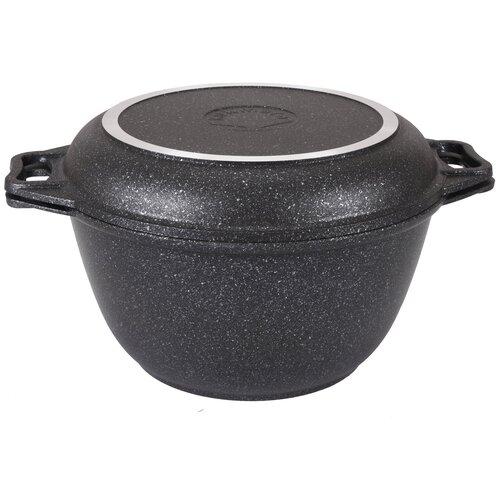 Казан KUKMARA Темный мрамор литой 4,0 л с крышкой-сковородой сковорода d 24 см kukmara кофейный мрамор смки240а