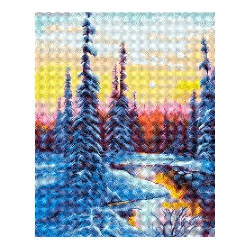 Купить Алмазная мозаика Зимнее утро, картина стразами Фрея 40x50 см., ФРЕЯ, Алмазная вышивка