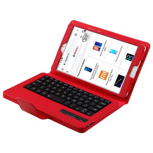 Чехол-клавиатура MyPads для Samsung Galaxy Tab S2 9.7 SM-T810/ T815 съемная беспроводная Bluetooth в комплекте c кожаным чехлом и пластиковыми наклейками с русскими буквами
