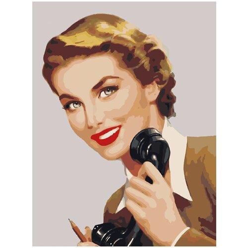 Купить Картина по номерам Девушка с телефоном, 80 х 100 см, Красиво Красим, Картины по номерам и контурам