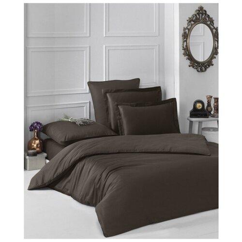 Комплект постельного белья евро LOFT (шоколадный) комплект постельного белья karna евро сатин однотонный loft екрю 2986 char003