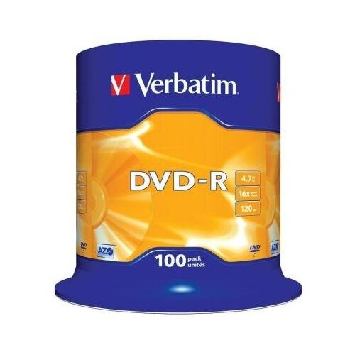 Verbatim Диски DVD-R 4.7Gb Verbatim 16х 100 шт Cake Box <43549>