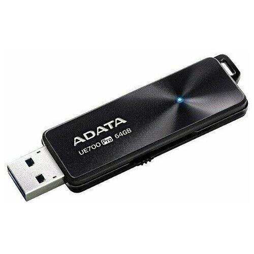 Флеш-накопитель USB 3.1 64GB A-Data Elite UE700 Pro чёрный металл