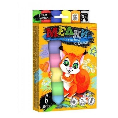 Купить Мелки цветные для рисования на асфальте, 6 шт, Danko Toys, Пастель и мелки